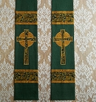 Dark Green Linen Clergy Stole featuring Gold and Green Celtic Crosses and Matching Bands -- Ready to Ship in a 52