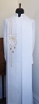 White Clergy Stole for Baptism with Gold Stitched Cross, Shell, and Three Gold Drops
