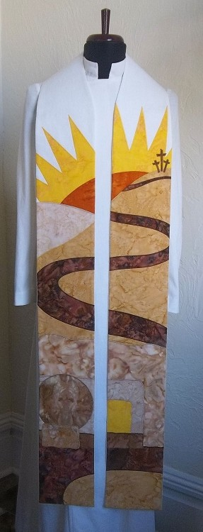 White Easter Clergy Stole with Sunrise over the Empty Tomb Design