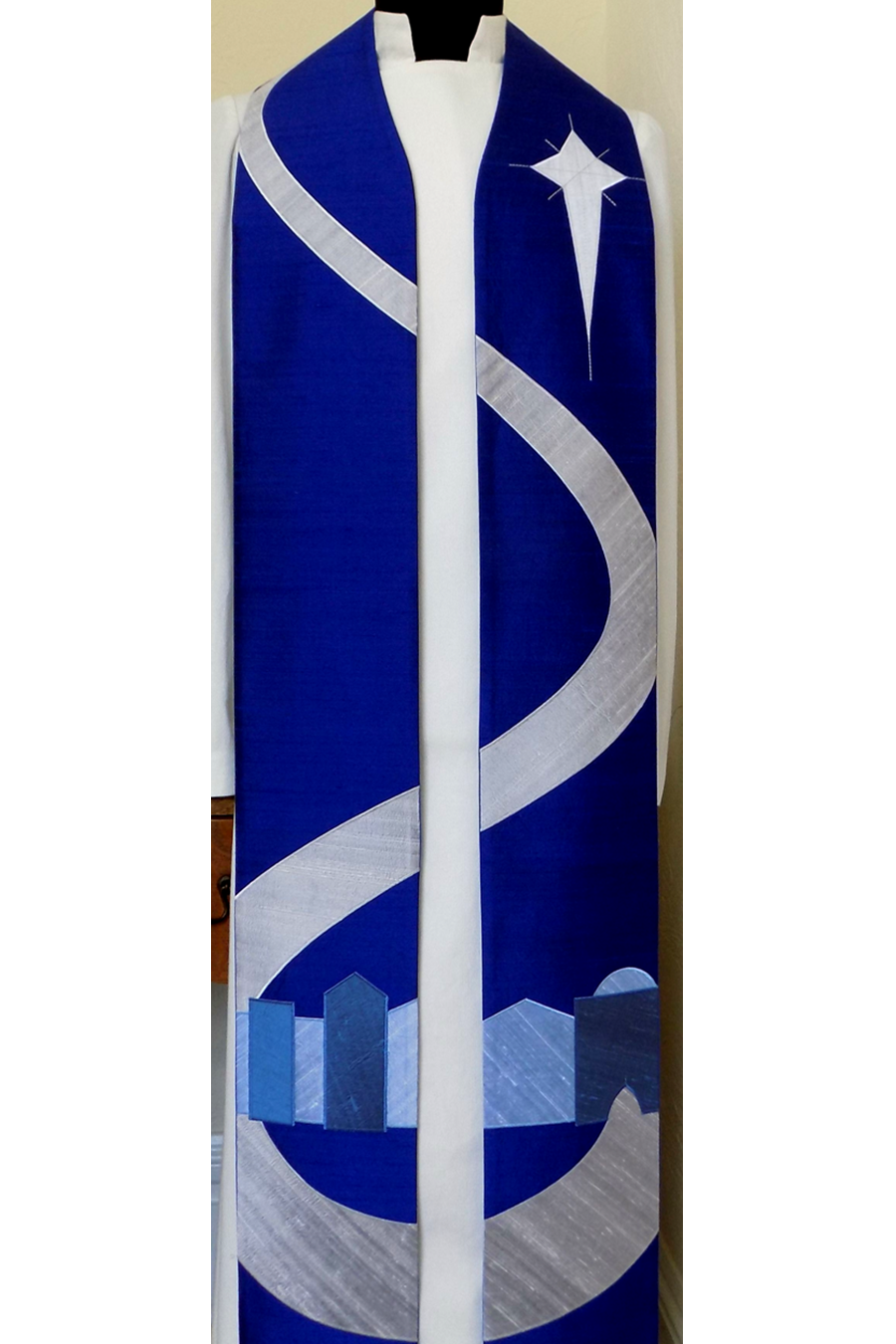 Come to Bethlehem and See! Blue Advent stole with Bethlehem Road Design