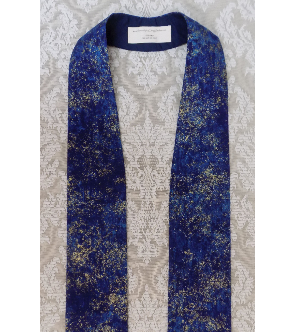 READY TO SHIP! Heavenly Hosts Sing! Blue Metallic Cotton Print Clergy Stole for Advent