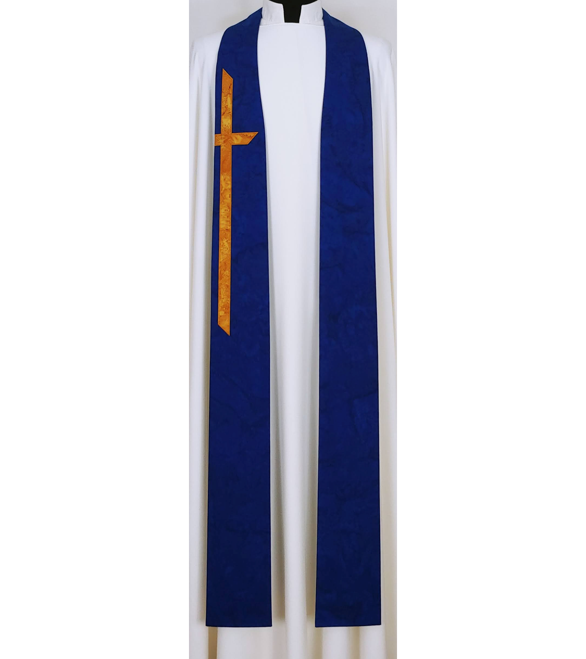 At the Cross: Cobalt Blue Cotton Batik Print Clergy Stole with Long Cross