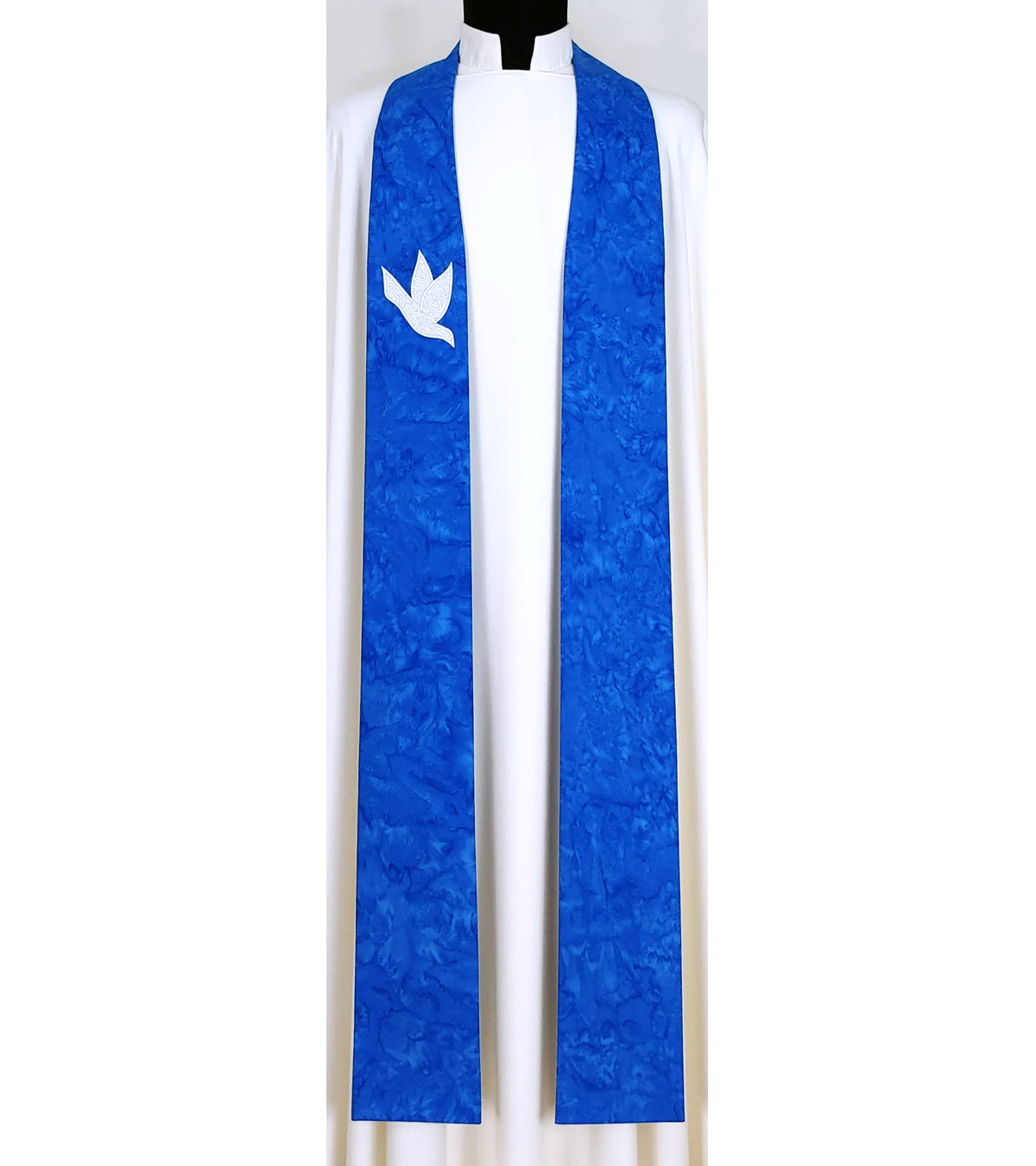 And on Earth, Peace: Medium Blue Clergy Stole for Advent with White Dove Design
