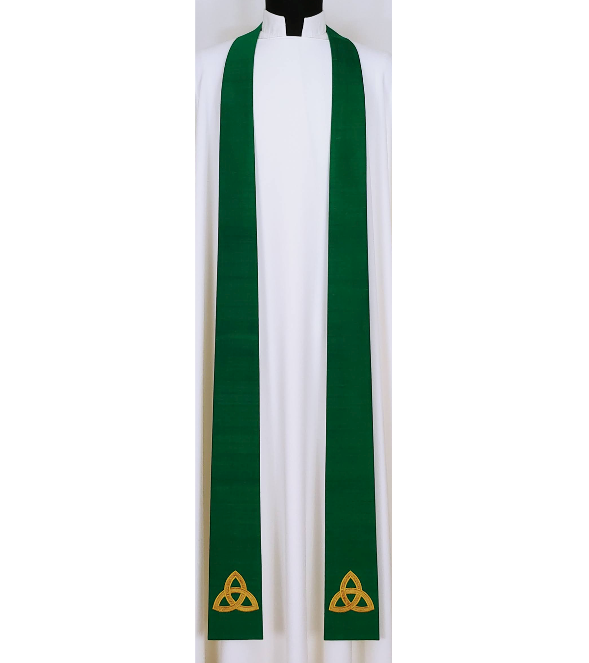 The Mystery of the Trinity: NARROW Silk Clergy Stole with Celtic Trinity Knot Design in all Colors