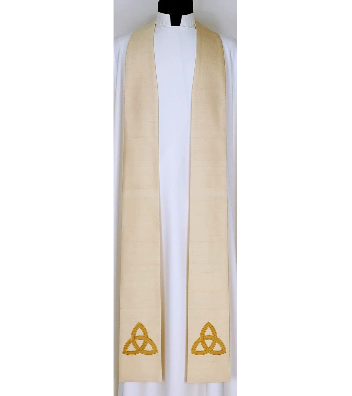 The Mystery of the Trinity: Cream SILK Clergy Stole with Gold Celtic Trinity Knot Design