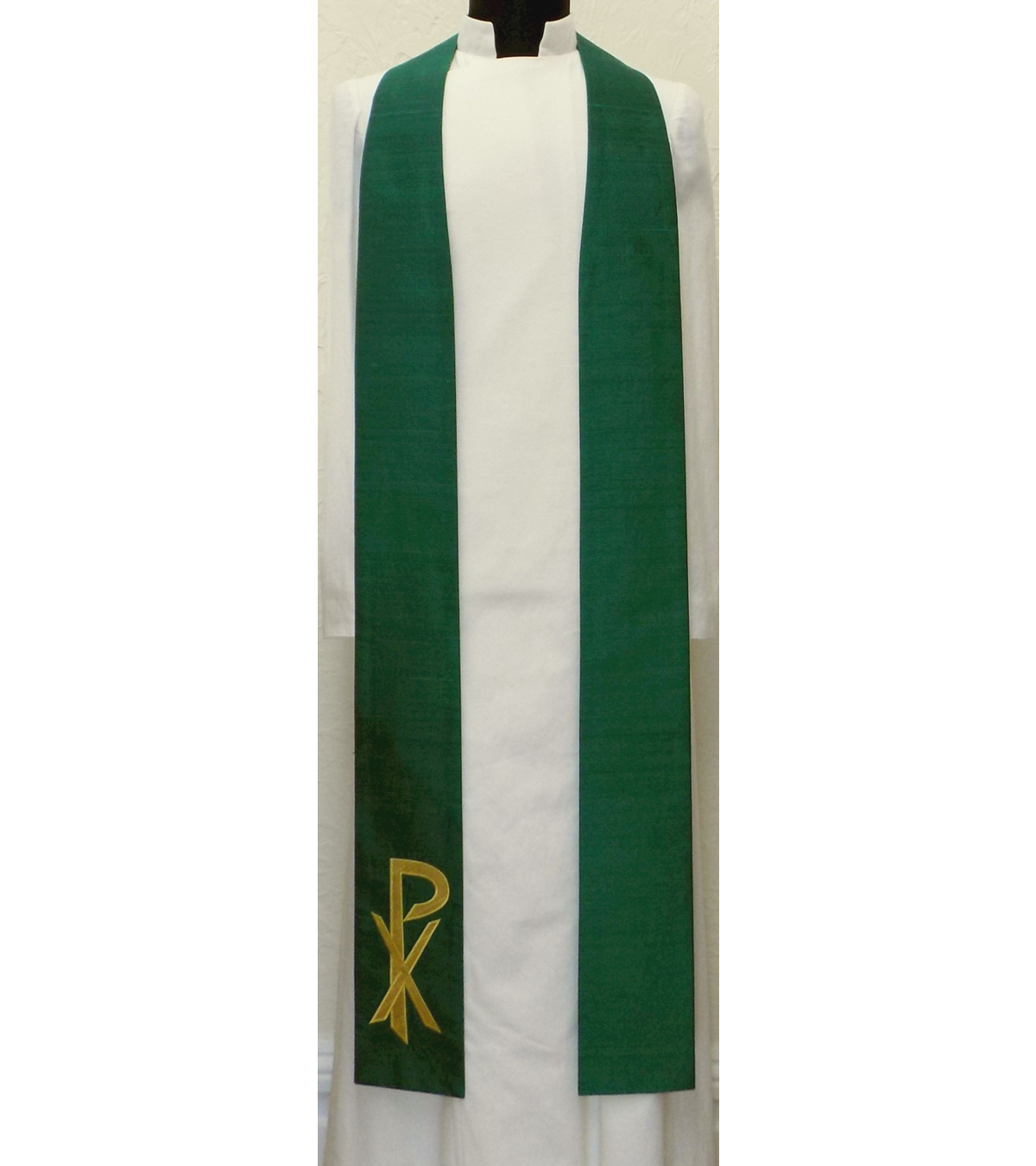 In Christ Alone: Green Silk Clergy Stole with Gold Chi Rho for Ordinary Time
