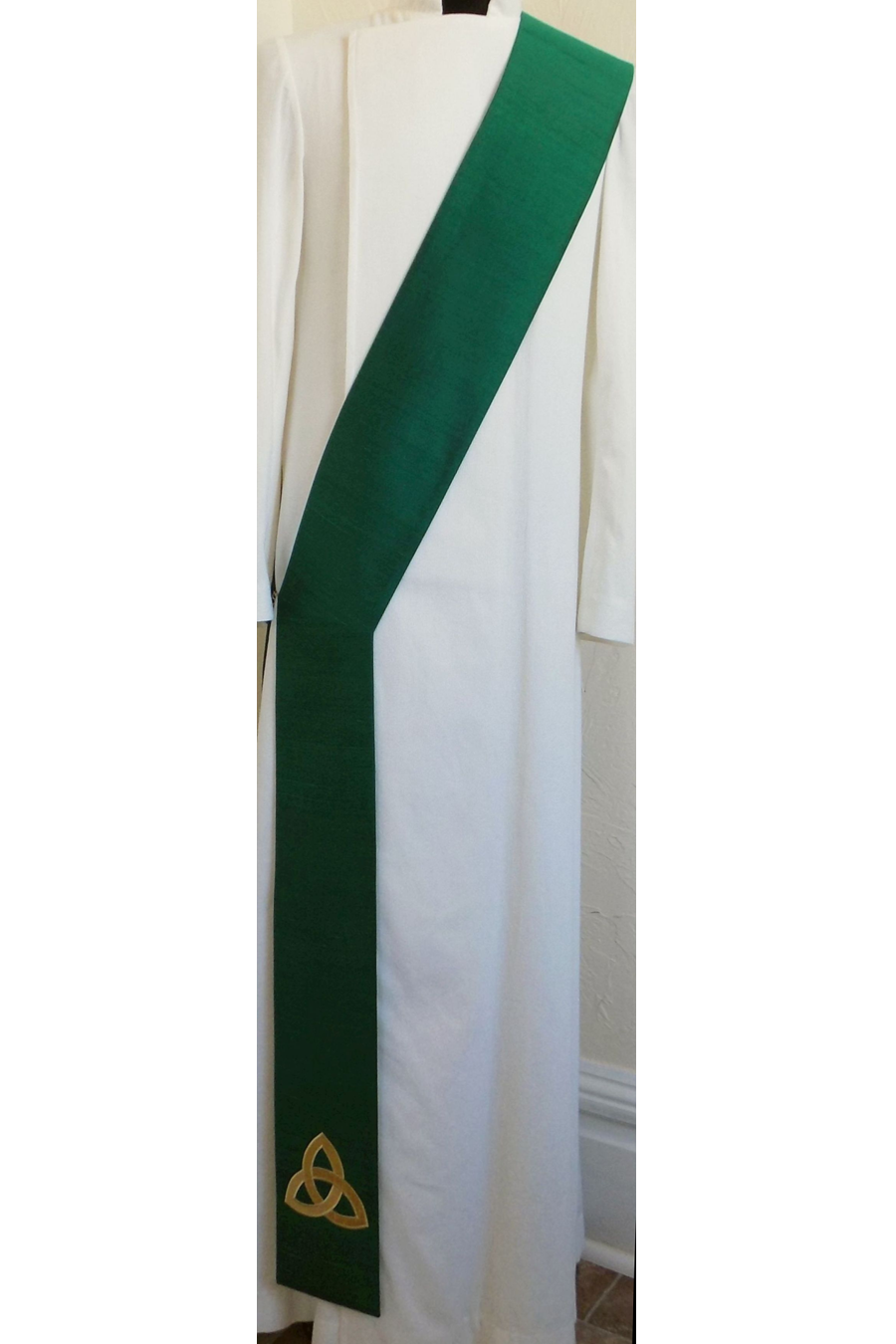 God in Three Persons: Celtic Trinity Knot Deacon Stole -- Available in all SILK colors