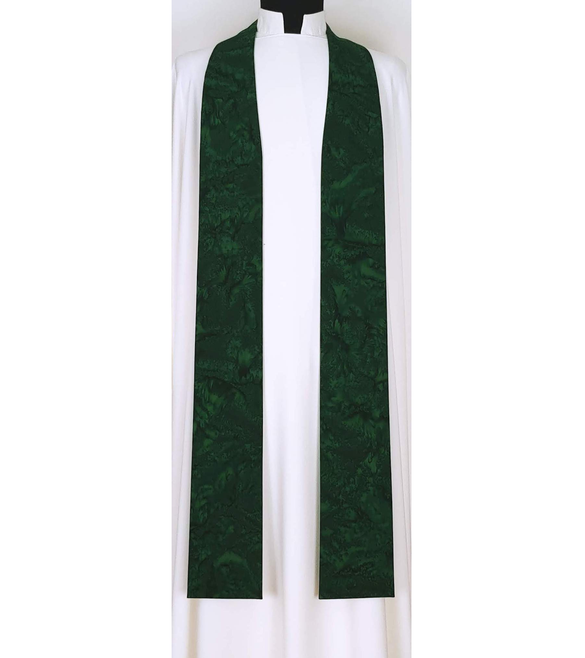 Basic Batiks: Hunter Green Clergy Stole with no Added Design