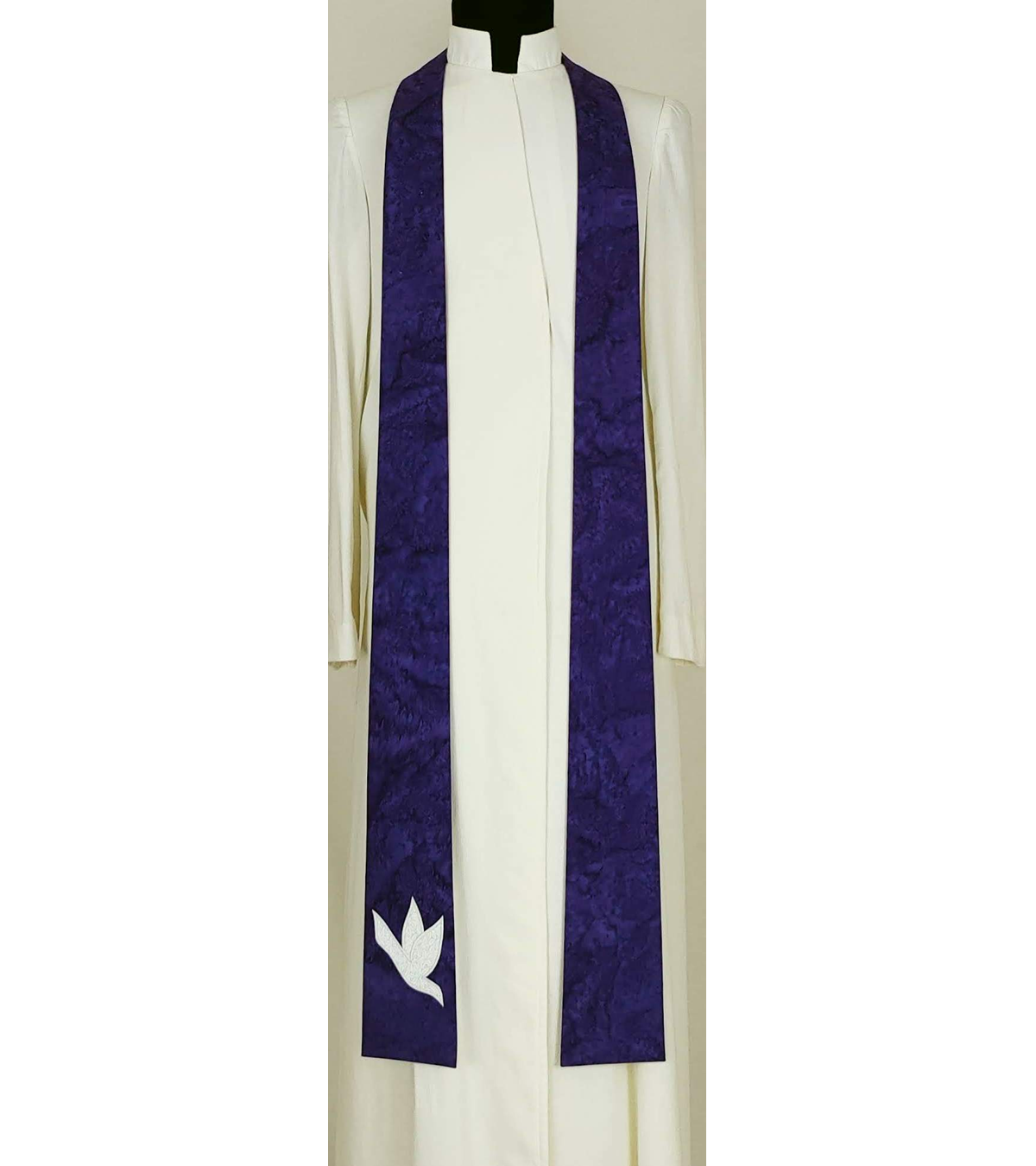 And on Earth, Peace: NARROW Purple Stole with Dove Design