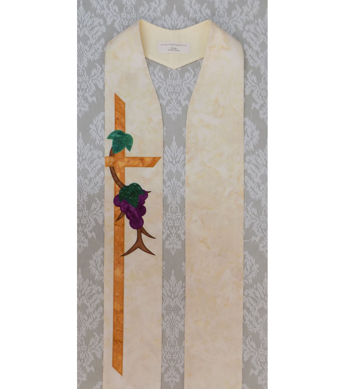 READY TO SHIP! Abide in Me: Clergy Stole with Simplified Grapevine Design