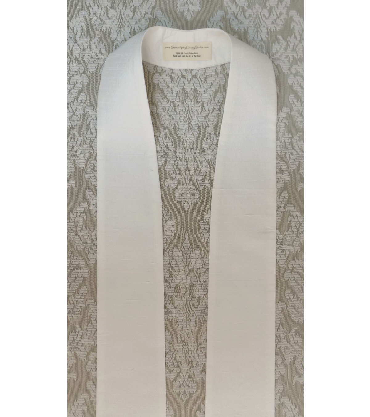 READY TO SHIP! Simply Silk: Plain White Clergy Stole - Keep it Simple, or Add Your Own Design!