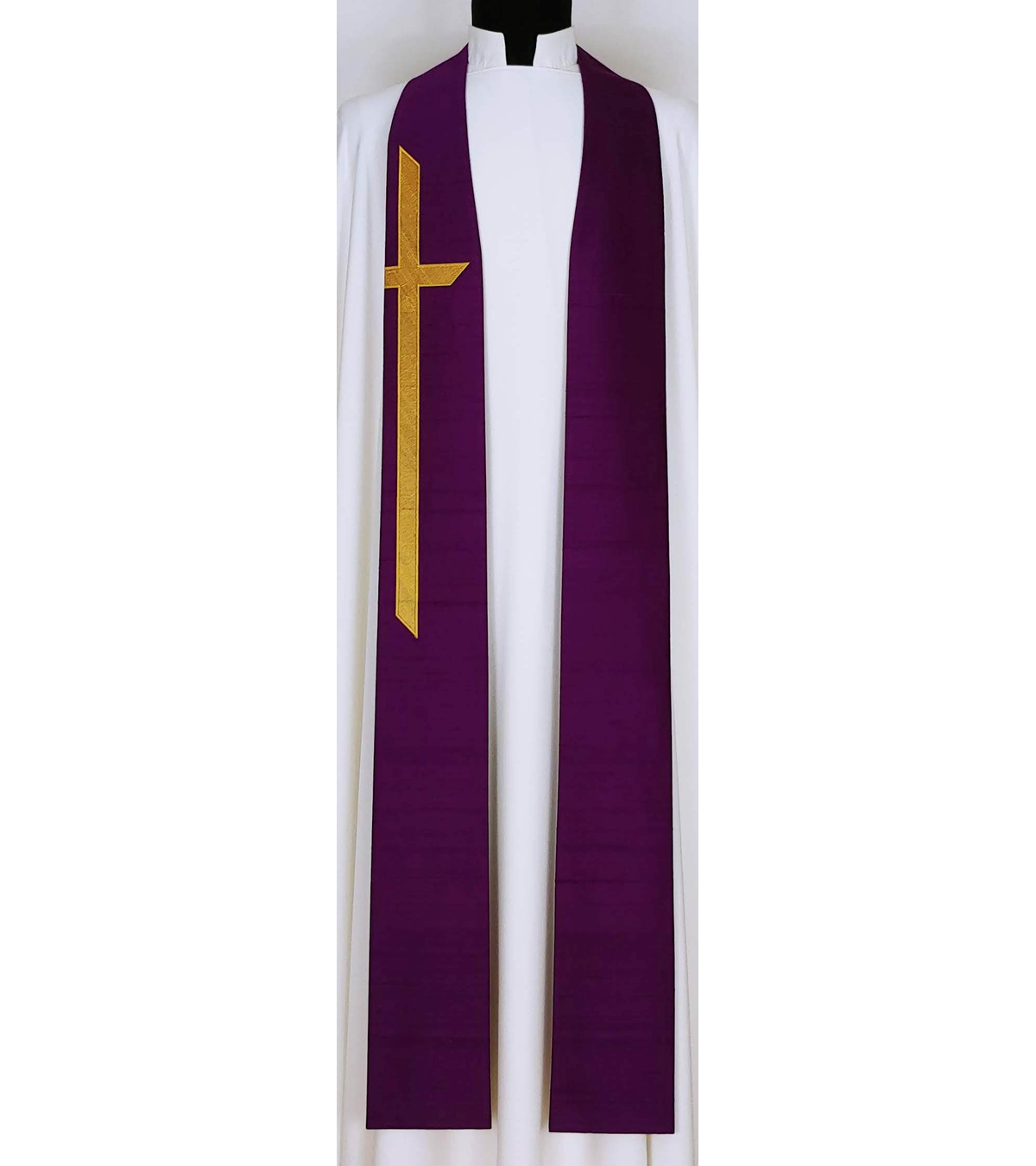 God Demonstrates His Own Love for Us! -- Purple Silk Clergy Stole with Long Gold Cross