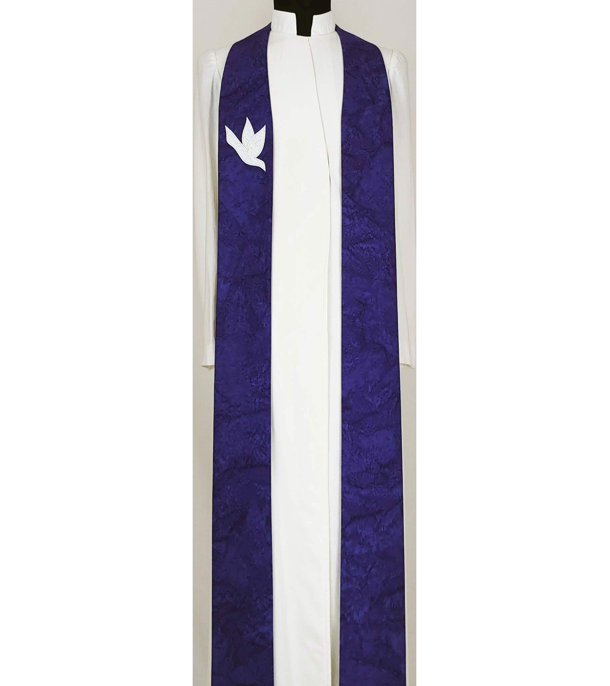 And on Earth, Peace: Purple Clergy Stole for Advent with Dove Design