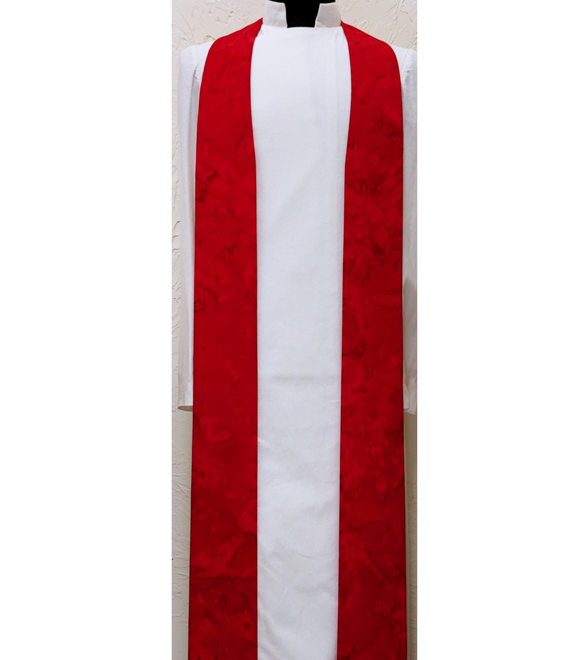 READY TO SHIP! Basic Batiks: Red Clergy Stole with no Added Design