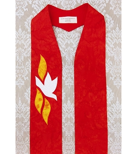 READY TO SHIP! The Gift of the Holy Spirit: Gothic Style Red Clergy Stole for Pentecost and Ordination
