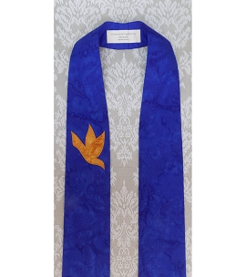 And on Earth, Peace: Cobalt Blue Clergy Stole for Advent with Gold Dove Design