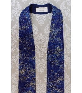 Heavenly Hosts Sing! Blue Metallic Cotton Print Clergy Stole for Advent