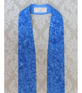 Simple Blue Batik Print Clergy Stole for Advent