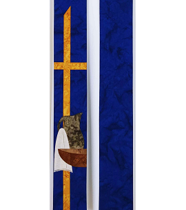 A Servant is not Greater than the Master: Blue Clergy Stole with Servant Design for Advent