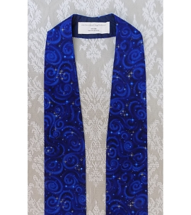 READY TO SHIP Silent Night, Holy Night: Blue Metallic Cotton Print Clergy Stole for Advent