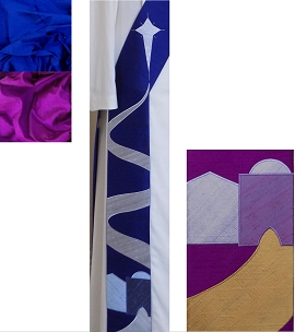 Blue deacon stole with Bethlehem road design for Advent, detail