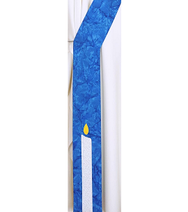Deacon stole with Christ candle, shown in Blue Jay