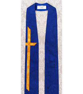 Cobalt Blue Tapered Clergy Stole with One Long Gold Cross