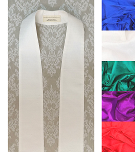 Simply Silk: Plain Clergy Stole in Every Color -- Keep it Simple, or Add Your Own Design!
