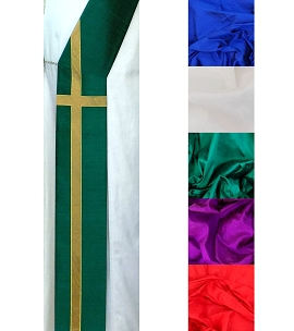 While we were still sinners, Christ died for us. -- Silk Deacon Stole in all Colors with Long Cross