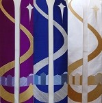 Come to Bethlehem and See! Advent or Christmas stole with Bethlehem Road Design - Available in Blue, Purple, or White