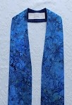 Ready to Ship! Advent Elegance: Clergy Stole in Blue Batik Print