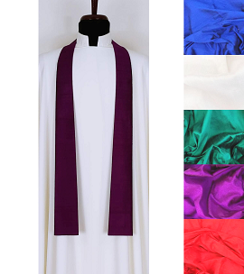 Simply Silk: Plain NARROW Clergy Stole in Every Color -- Ideal for Chaplains!