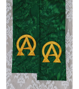 God Who IS, and WAS, and IS TO COME: Green Batik Clergy Stole with Gold Alpha and Omega