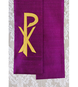 Purple silk clergy stole with gold Chi Rho symbol, shown as a tapered stole, available in all colors
