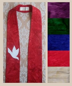 And on Earth, Peace: Clergy Stole in Any Color with Dove Design