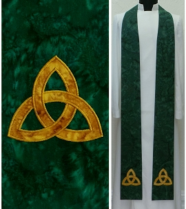 The Mystery of the Trinity: Green Clergy Stole with Celtic Trinity Knot Design