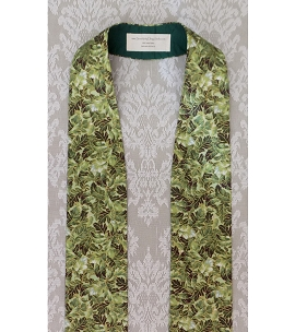 READY TO SHIP! Simple Green Clergy Stole for Ordinary Time in Metallic Leaf Print