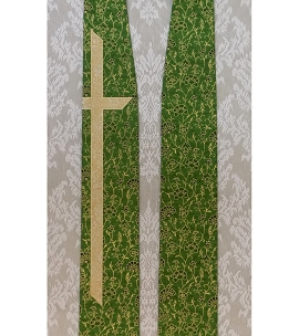 Just the cross: Green Clergy Stole with Long Cross in Metallic Cotton Prints