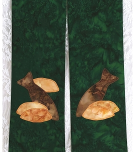 Green Clergy Stole with Five Loaves and Two Fish - shown as a tapered stole