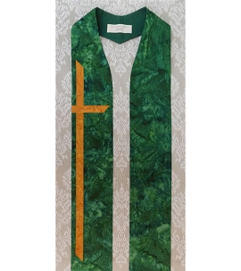 At the Cross: Green Cotton Batik Print Clergy Stole with Long Cross for Ordinary Time