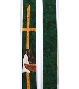 A Servant is not Greater than the Master: Green Clergy Stole with Servant Design for Ordinary Time