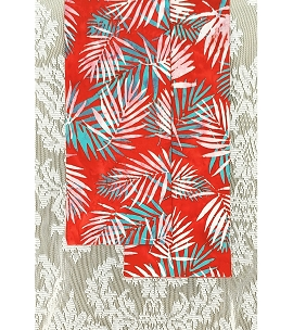 READY TO SHIP: HOSANNA! Red Celebration Stole in Palm Leaf Print