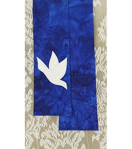 And on Earth, Peace: NARROW Iris BlueStole with White Dove Design