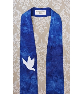 And on Earth, Peace: Iris Blue Clergy Stole for Advent with White Dove Design
