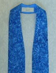 READY TO SHIP! Blue Clergy Stole in Batik Scroll Print