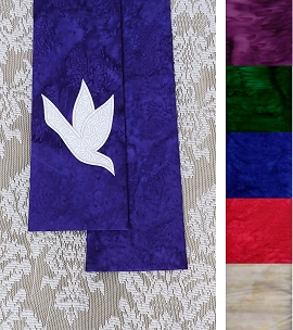And on Earth, Peace: NARROW Stole in Any Color with Dove Design