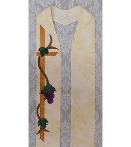 Abide in Me: Clergy Stole with Simplified Grapevine Design