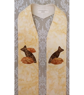 The Feast of Pastoral Ministry: Cream Clergy Stole with Five Loaves and Two Fish