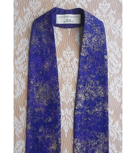 READY TO SHIP: Heavenly Hosts Sing! Purple Metallic Cotton Print Clergy Stole for Advent