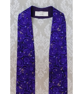 READY TO SHIP! Silent Night, Holy Night: Purple Metallic Cotton Print Clergy Stole for Advent